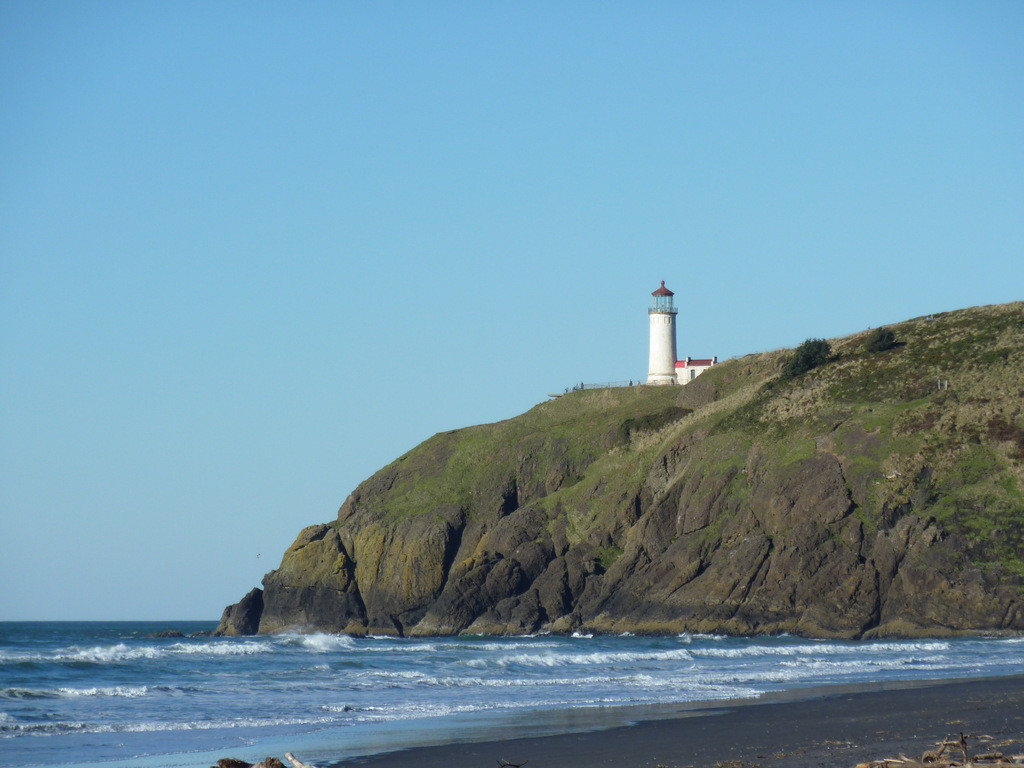 North Head Light, seen from Benson Beach, near our marginal campsite.