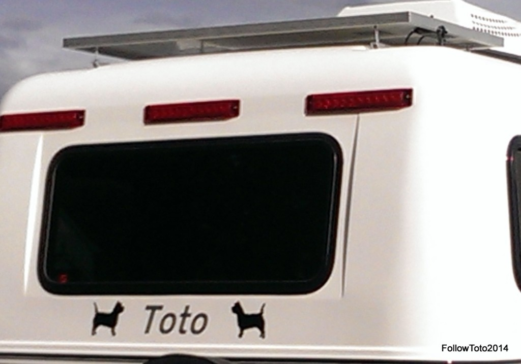 Solar panel mounted atop Toto the trailer