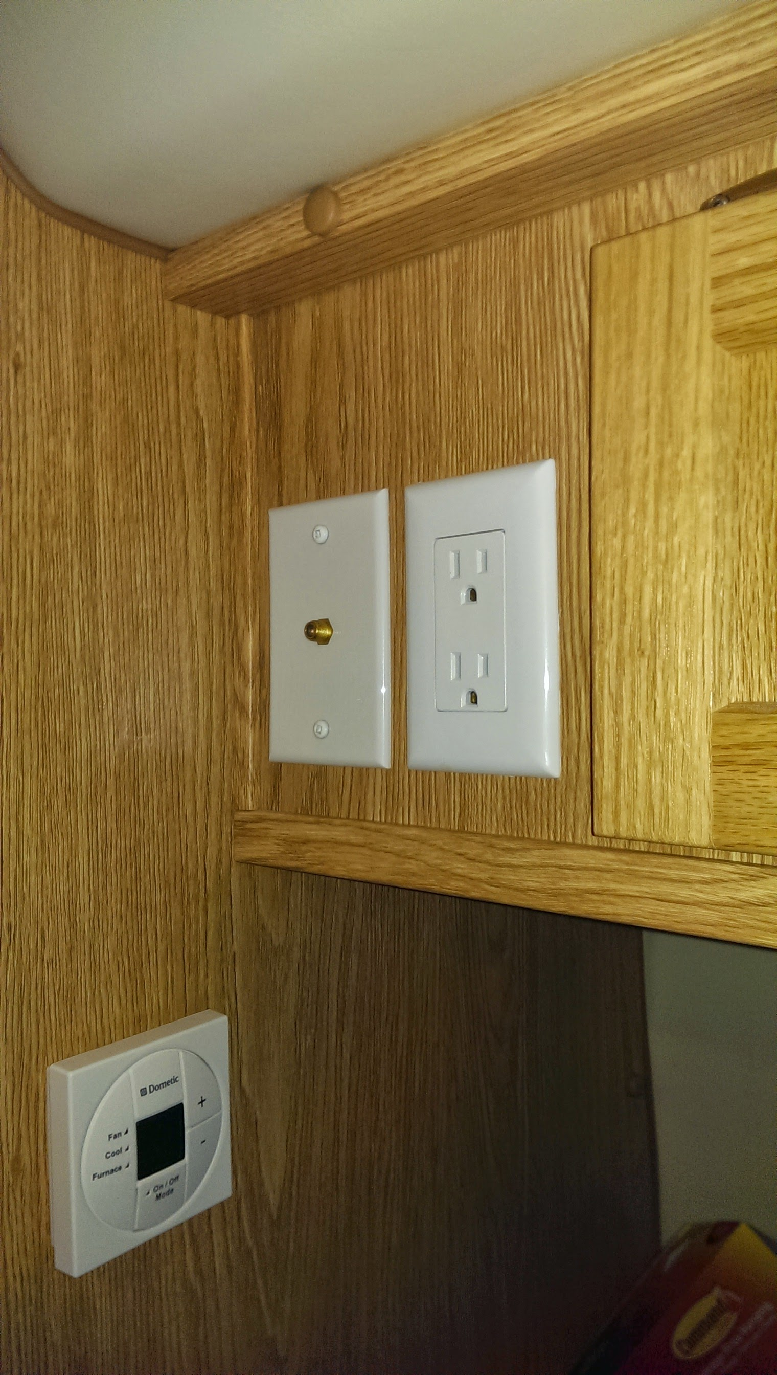 TV Coax jack and 120v AC outlet