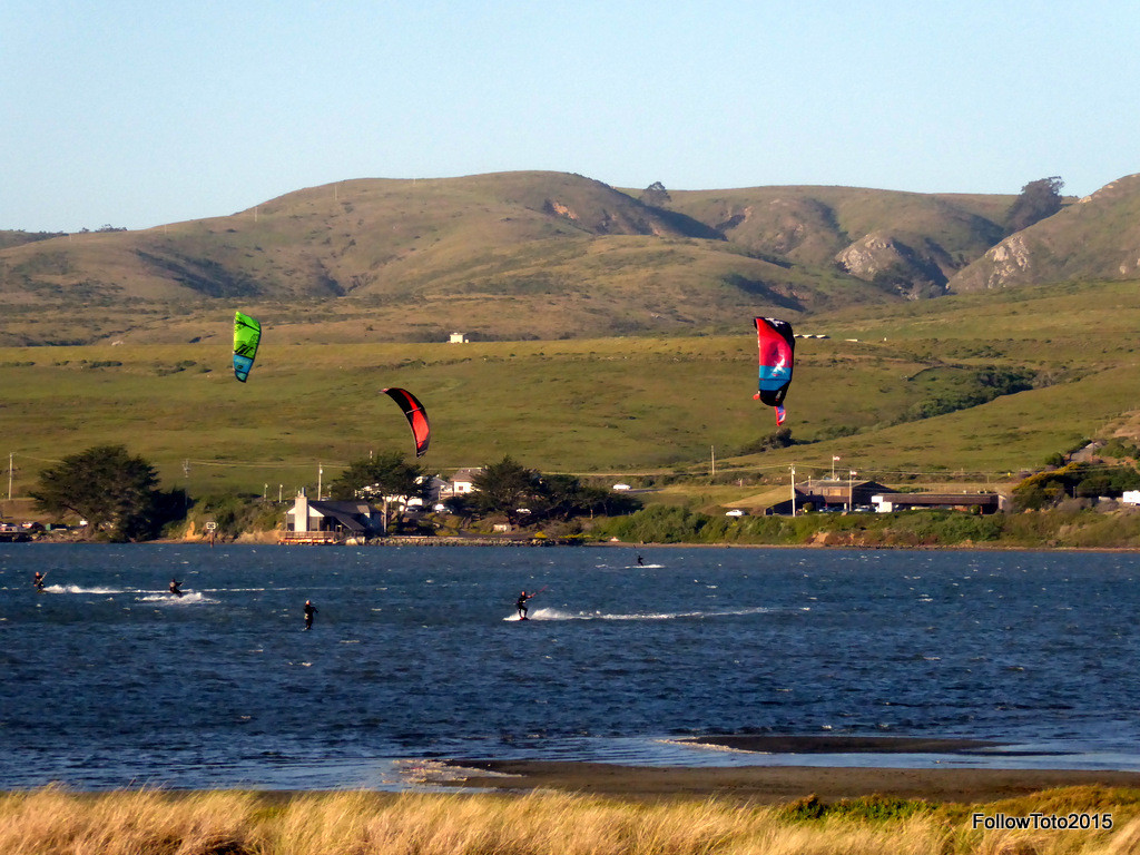 Kite-surfers, bay, whitecaps, you get the idea.