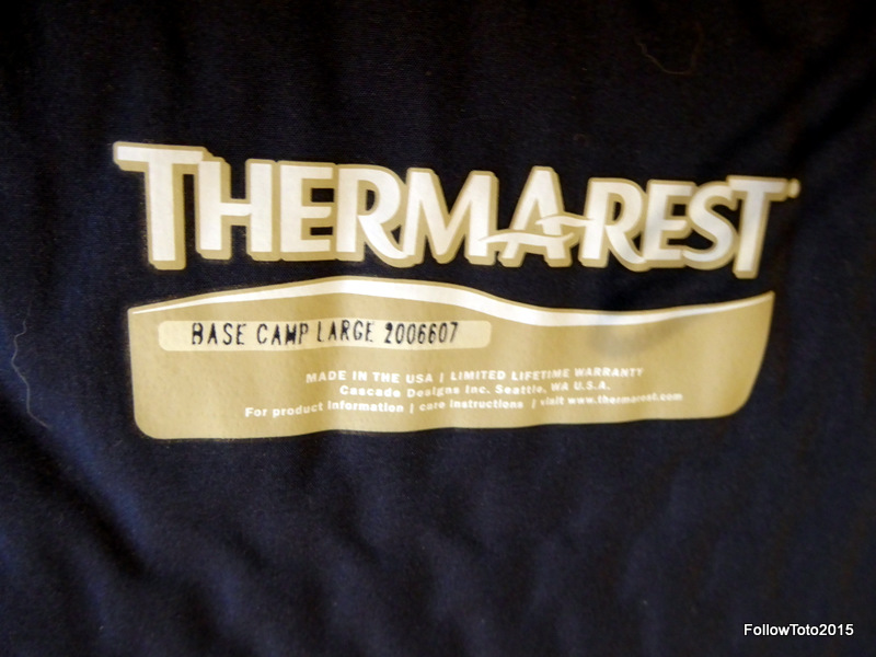 Therm-a-Rest pad label on our pads. Base Camp model, size Large (two of 'em).