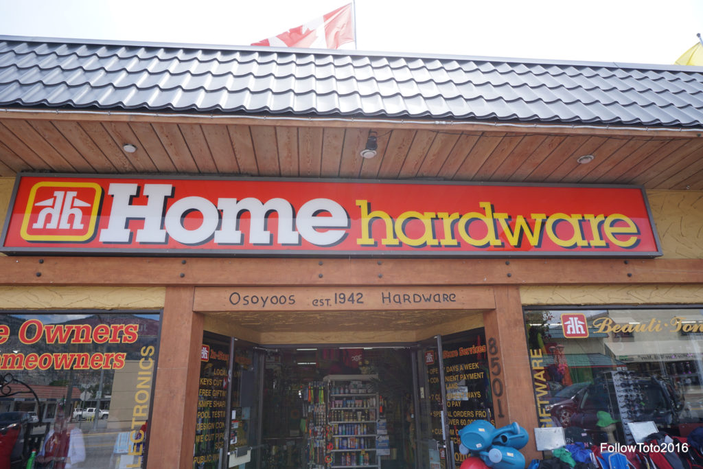 We were advised by a number of folk to visit the Home Hardware store in downtown Osoyoos. So we did. Says here it was established in 1942. Finally found something older than me.