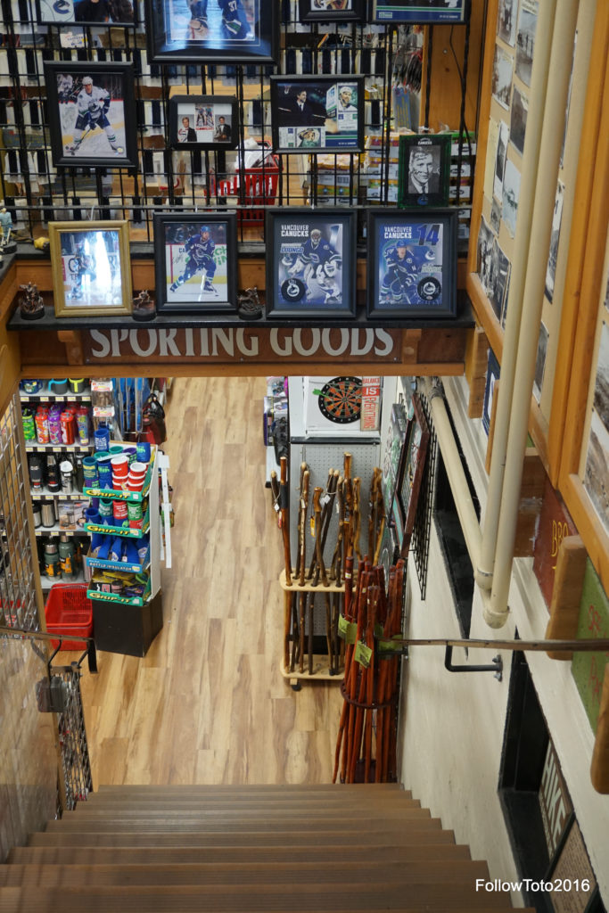 Why were we advised to visit this store? I dunno. It has a large inventory and wide variety of many things. Socks, for example. Also, canes. I think I see a dartboard here. Sooz bought some trinket to take to the housesitter.