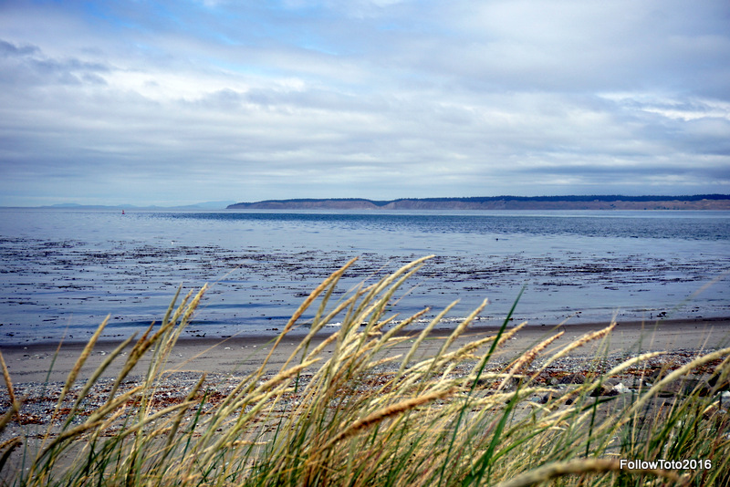 Admiralty Inlet and Whidbey Island from the Fort Worden beach campground.