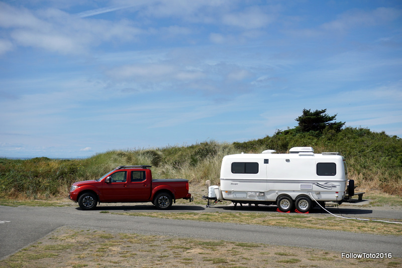Admiralty Inlet is just over the dunes there. Yes, we had an ocean view if we stood on the truck.