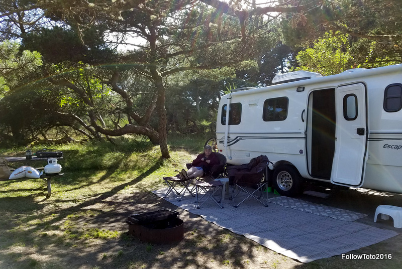 It was July, so the campground was packed with happy vacationers of all ages. Many parts of the campground seemed overcrowded -- lots of people in every site, lots of cars -- but we were luckily in a quieter corner. So glad to kick back after a long day's drive.