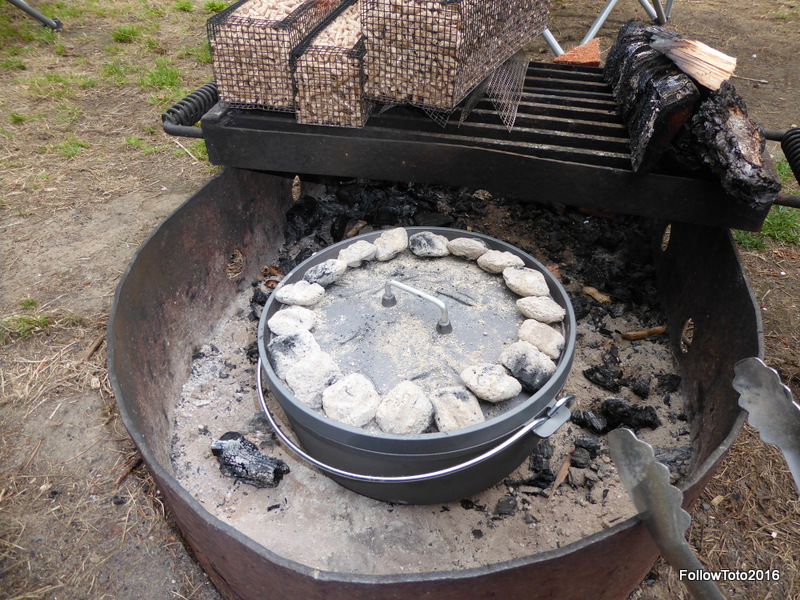 This was our very first dutch oven cook while camping. We had tried a pot roast at home... it didn't come out so well. We blame the recipe! Anyway if you could see through this lid you'd see pizza baking.
