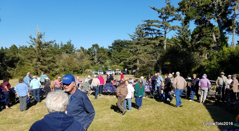 These people, and a crowd of others, attended the Oregon Coast Gathering; in this case they were gathering to socialize and eat. They all seemed pretty happy about their decision to attend.