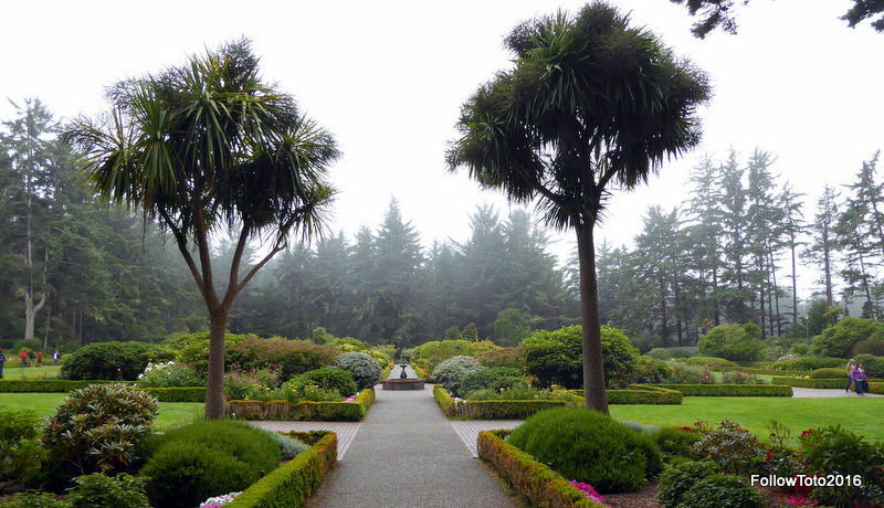 The botanical gardens at Shore Acres State Park, on a drizzly day.
